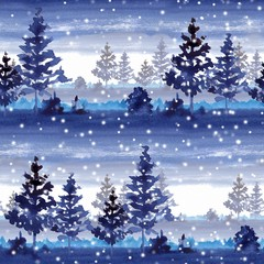 Seamless pattermn with winter forest. Watercolor landscape