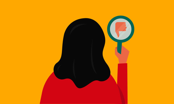 Vector illustration of a girl/woman staring at the thumbs down reflection in a mirror. Mirror shows disapproval sign. Thumb down gesture. Dislike concept