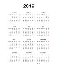 Kalender 2019 schlicht
