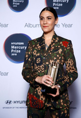 Nadine Shah, whose album 'Holiday Destination' has been nominated for the Mercury Prize 2018, poses for a photograph ahead of the ceremony at the Hammersmith Apollo in London