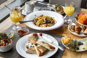 Vegan breakfast at the a Hotel, Tel Aviv, Israel.