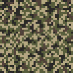 Camouflage pixel  pattern. Vector background.