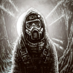 Soldier in gas mask. Infection area.