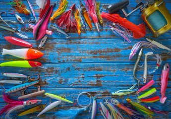 Foto op Canvas Paradijsvogel Fishing lures tackle collection minnows