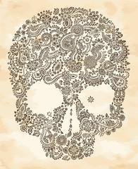 Hand drawn floral skull