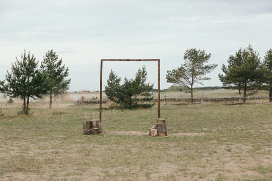 A wooden frame structure used for a wedding.