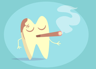 Tooth, Smoking, yellow Vector. Cartoon. art Flat face