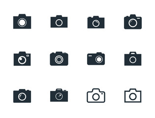 photo camera flat icon set