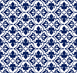 Printed indigo dye,seamless ethnic floral geometric pattern. Traditional oriental ornament.