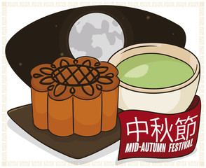 Mooncake, Teacup and Full Moon in the Chinese Mid-Autumn Festival, Vector Illustration