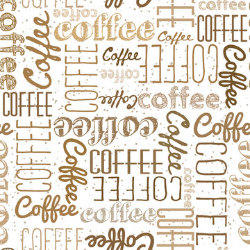Seamless pattern of coffee words. Dark light inscriptions on a white background. Coffee colors Chaotically scattered words of different fonts