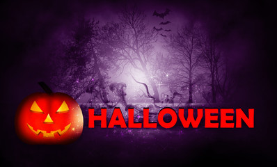 Dark background of empty street, background Halloween. Pumpkin in the forest at night on a Halloween holiday