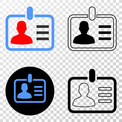 Person badge EPS vector pictogram with contour, black and colored versions. Illustration style is flat iconic symbol on chess transparent background.