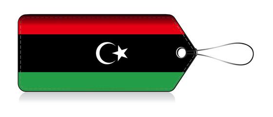 Libya flag label, Label made in libya
