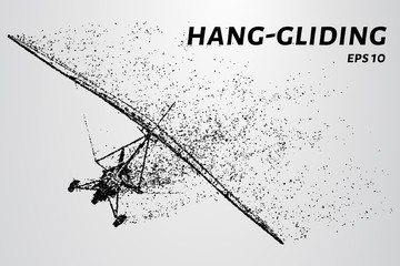 The glider consists of dots and circles. Hang-gliding from the particles.