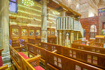 The medieval interior od St Barbara Church in Cairo, Egypt