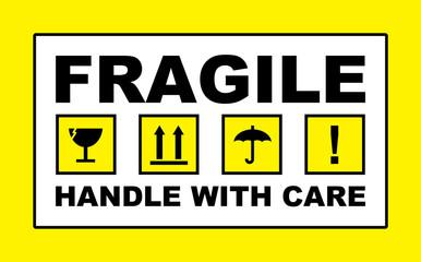 fragile warning sign label sticker