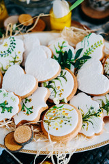 Tasty gingerbread cookies covered with white icing