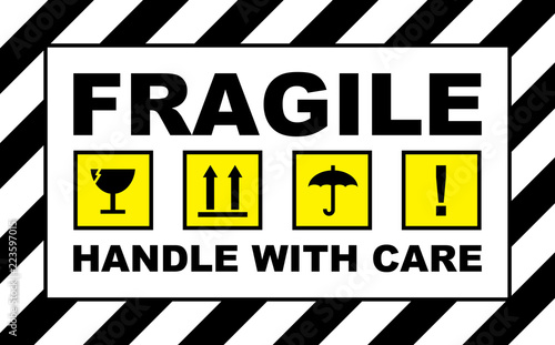 fragile sign warning sticker placard stock photo and royalty free