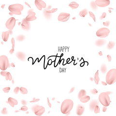 Mother day greeting card with pink plum petals, vector, illustration