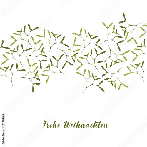 Frohe Weihnachten Text.Christmas Greeting Card Mistletoe On White Background Text
