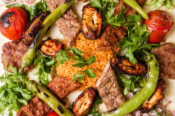 Turkish Traditional Mixed Kebab Plate with Adana and Chicken Kebabs