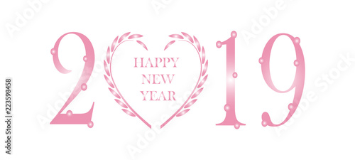 new year background the year 2019 banner with pink floral wreath