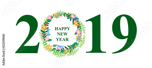 new year background the year 2019 banner with floral wreath