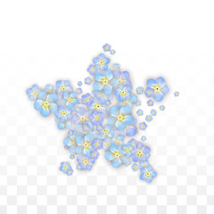 Blue Vector Realistic Blue Petals Falling on Transparent Background.  Spring Romantic Flowers Illustration. Flying Petals. Sakura Spa Design. Blossom Confetti. Design Elements for Wedding Decoration.