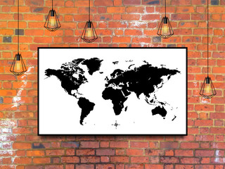world map in a frame with Edison lamps on brick wall background in loft style design. stock vector illustration eps10