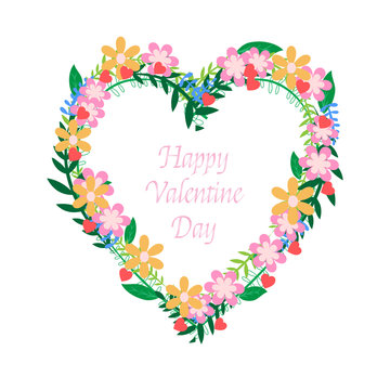 Happy Valentine's day in Floral wreath with heart shape