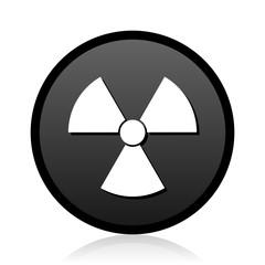 Radiation vector black icon. Round atom sign. Web nuclear symbol.