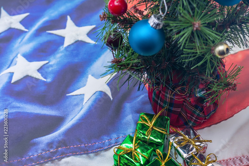 Patriotic Christmas Background.Christmas Tree And Decorations On Patriotic Usa Flag