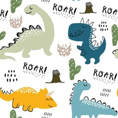 childish dinosaur seamless pattern for fashion clothes, fabric, t shirts. hand drawn vector with lettering