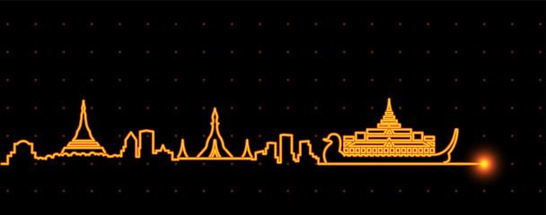 Yangon Light Streak Skyline