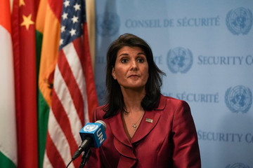 U.S. Ambassador to the United Nations Nikki Haley speaks during a news conference at U.N. headquarters in Manhattan