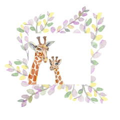 Watercolor giraffes in eucalyptus leaves, painted with a brush, handmade. Mother and child.