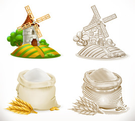 Mill and flour. 3d realism and engraving styles. Vector illustration