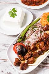 Authentic Turkish Shish Kebab in White Plate