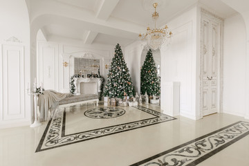 Christmas morning. classic luxurious apartments with a white fireplace, decorated christmas tree, sofa, large windows and chandelier.