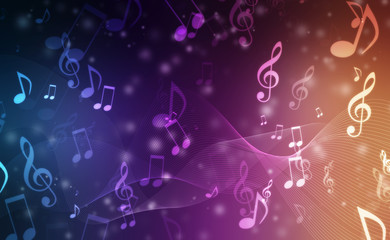 Abstract Colorful music background with notes Fotobehang