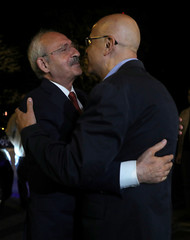 Kemal Kilicdaroglu, the leader of the main opposition CHP, meets with his party's lawmaker Enis Berberoglu in Istanbul