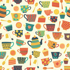Tea time vector seamless pattern background beige. Tea cups, teapot, spoons, cupcakes. Hand drawn mug illustration. Retro print for packaging, fabric, menu, cafe, bakery, tea party, cards, winter