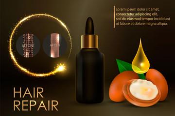Argan oil for hair care. Vctor