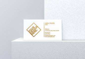 Business Card on Ledge Mockup
