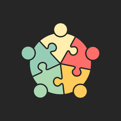 Teamwork Puzzled Meeting but Finally Succesful - Logo