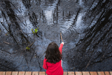 High angle view of girl playing with stick in lake at park