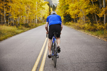 Full length rear view of senior man riding bicycle on country road amidst trees