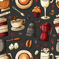 Cartoon hand-drawn doodles on the subject of cafe, coffee shop theme seamless pattern. Colorful detailed, with lots of objects vector background. Sketch elements for you design