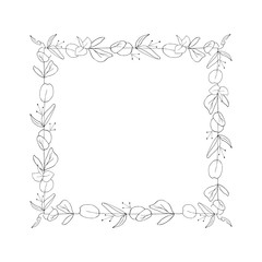 Square floral graphic frame, vector